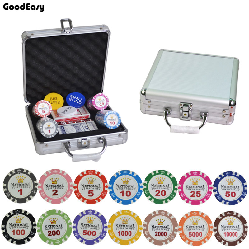 100/200/300/400/500PCS/SET 14g Gold Crown Clay Casino Texas Hold'em Poker Chips Sets With Metal Box Aluminum Case/Box/Suitcase 600 1000pcs box 14g clay chips sets with acrylic box casino crown poker 14 colors texas hold em poker chips cheap factory price