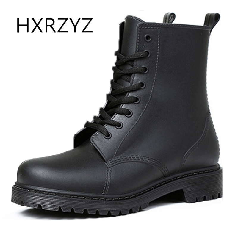 HXRZYZ women black rain boots female rubber ankle boots spring/autumn new fashion lace-up outdoor hunting waterproof shoes women hxrzyz spring autumn new shoes woman ladies leather thick heel fashion style shoes lace up rubber bottom women shoes black pumps