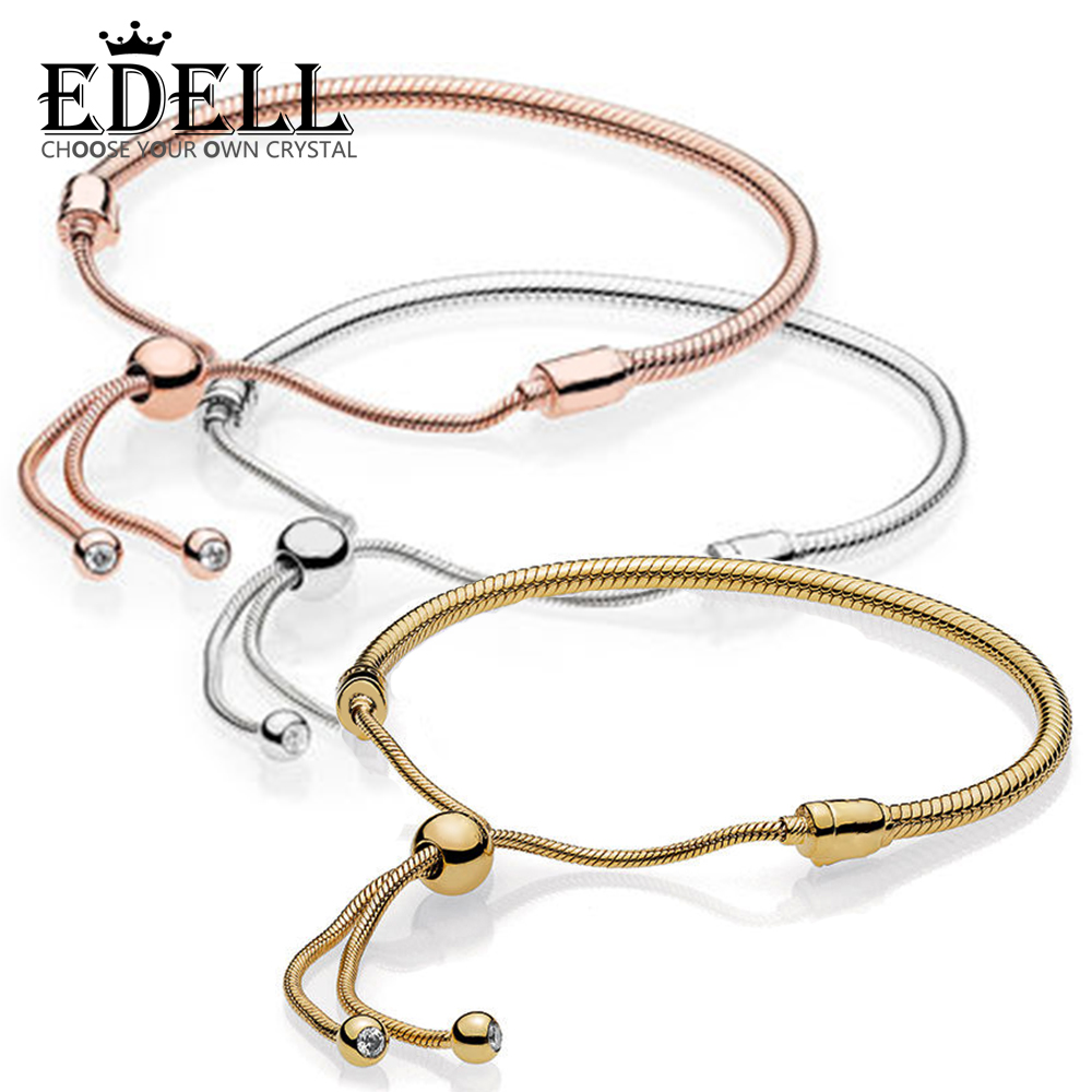 EDELL 100% 925 sterling silver 1:1 Genuine Glamour 14K Gold Rose Gold Sliding Basic Bracelet Fit DIY Beaded Original Women Jewel цена