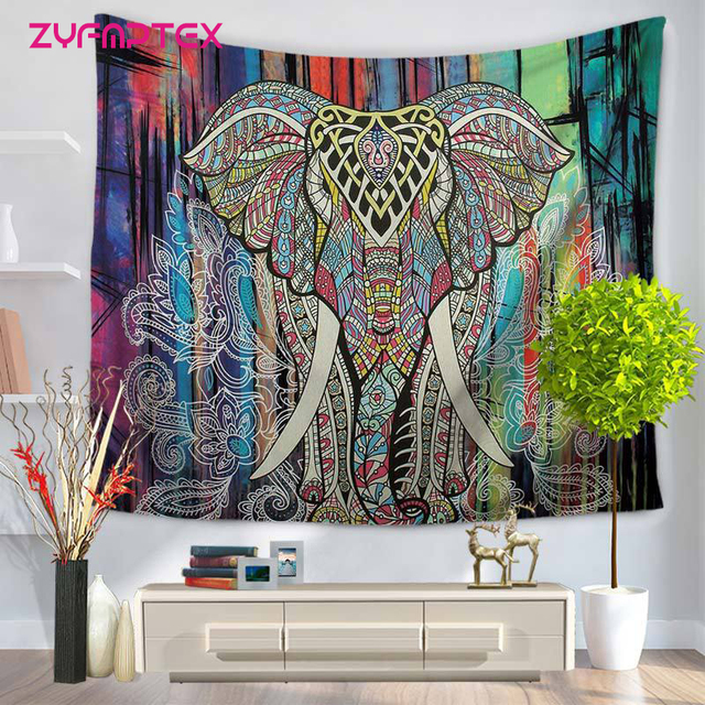 ZYFMPTEX Colorful Elephant Indian Tapestry Wall Hanging 100% Polyester  150x130cm/150x200cm Tapestry Mandala Bedroom