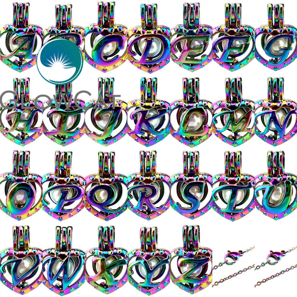 """C14 COLORFUL Love Heart Dolphins Charms Pearl Cage Stainless Steel Chain 18/"""""""