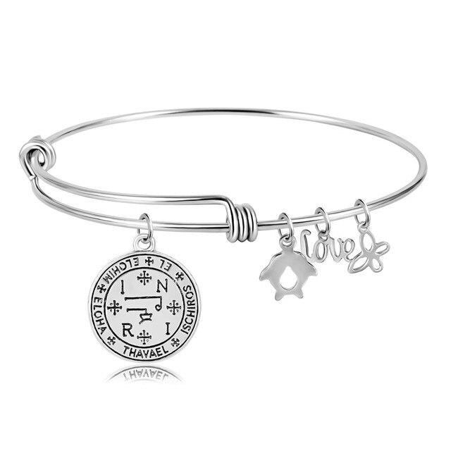 US $4 99  Sigil of Archangel Gabriel Enochian Talisman Amulet Angel Tibetan  Charm Stainless Steel Bracelets For Ethnic Women Jewelry-in Bangles from