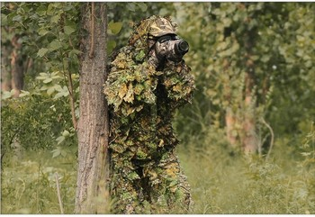 Hunting clothes New 3D maple leaf Bionic Ghillie Suits Yowie sniper birdwatch airsoft Camouflage Clothing jacket and pants 2