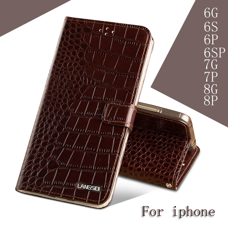 For iPhone X  phone case brand  Crocodile Genuine Leather Clamshell Mobile Phone Cases for iphone 6 6S 6SP 7 8 PLUS case