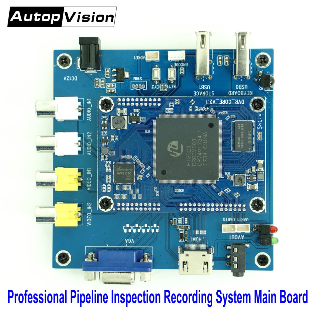 Professional Pipeline Inspection Recording System Main Board supports analog CVBS AHD 1080P 720P video input SD