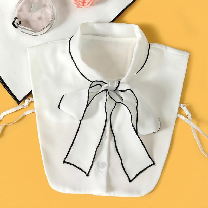 Vintage Womens Fake Collar Shirt 2019 Ladies Front Bow Tie White Women False Detachable Nep Kraagie