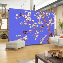 Custom wallpaper hand-painted flowers and birds TV background murals high-grade waterproof material