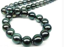 women gift 17INCH GOLD CLASP flawless light AAAA 12-13mm real Tahitian genuine black peacock blue green round pearl necklace