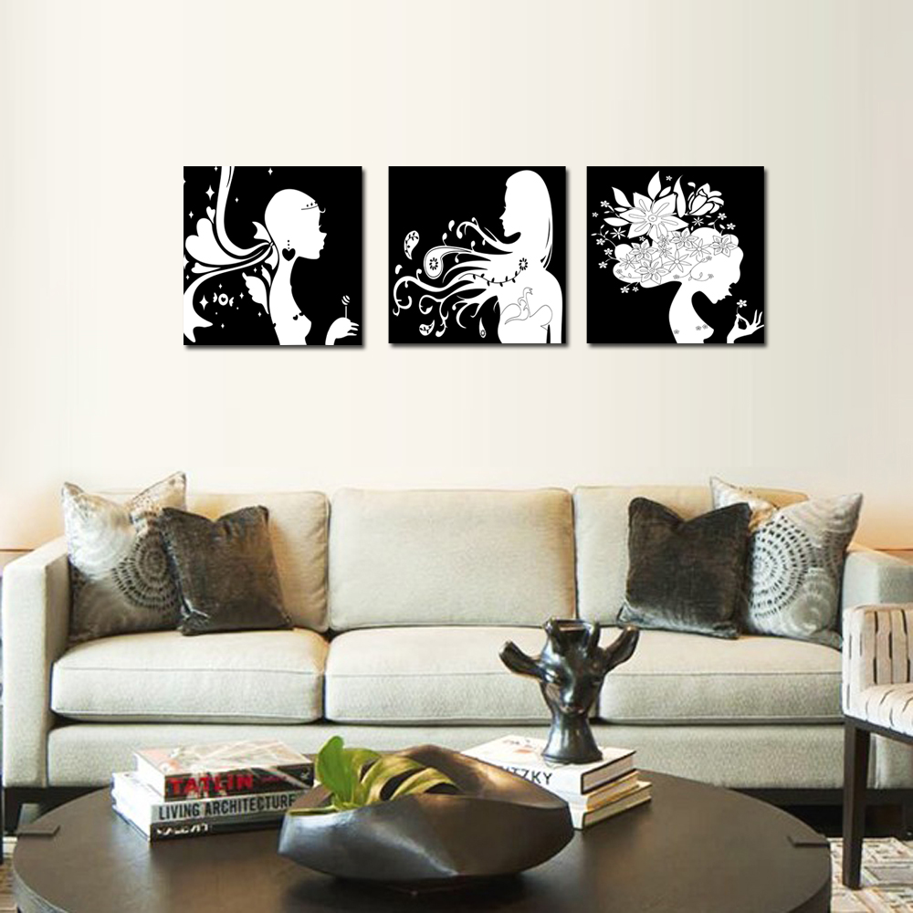 Black & White Girls Photos Canvas Prints Wall Art Home Decoration ...