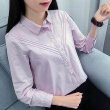 2017 Fashion Spring Women Blouse Pleated Cotton Long Sleeve Work Shirt Office Tops School Girl Ladies White Shirts for Business