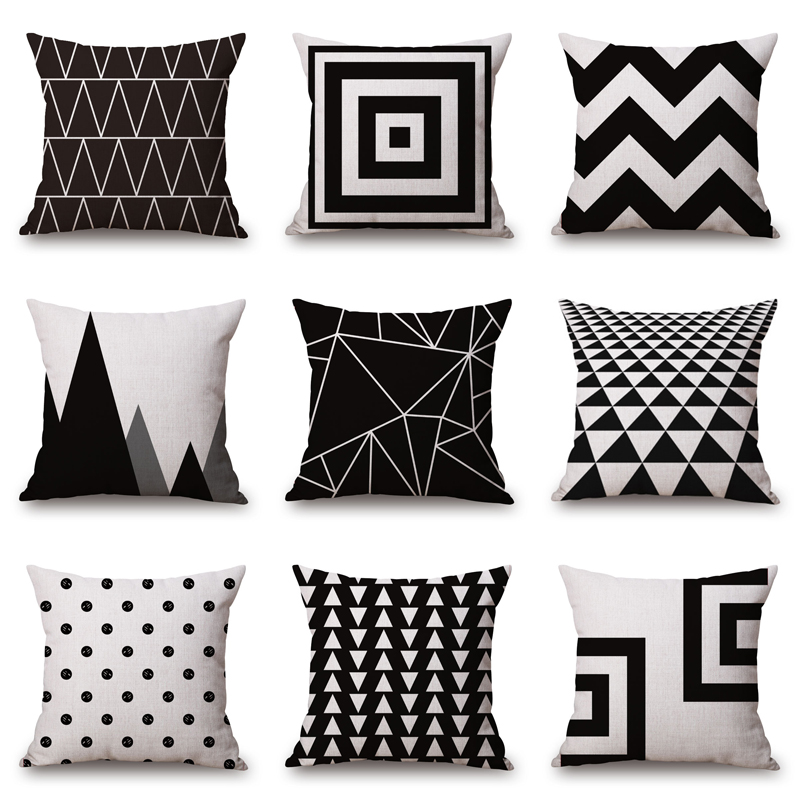 2019 New Black And White Pattern Pillowcase Cotton Linen Printed 18x18 Inches Geometry Euro Cushion