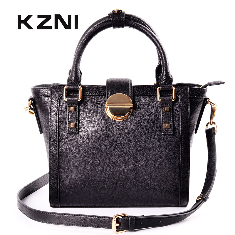KZNI Genuine Leather Purses and Handbags Top-handle Bags Fashion Handbags 2017 Black Women Real Leather Tote Bag Sac Femme 1443 kzni genuine leather handbag women designer handbags high quality phone bag purses and handbags pochette sac a main femme 9022