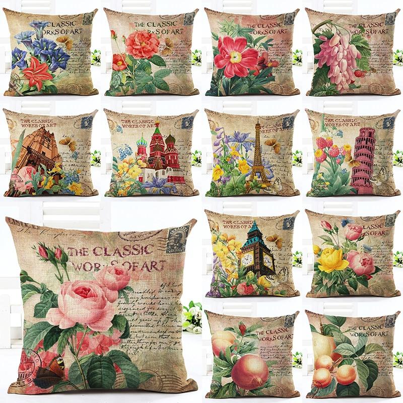 2016 Vintage ziedu spilvena dekoratīvais spilvens Nap spilvenu spilvens un mazgājams vidukļa spilvens Cute sēdekļa spilvens