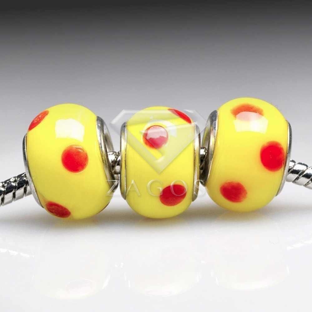 5pcs Glass Lampwork Murano European Beads Round Red 14x14x10mm HALB0116