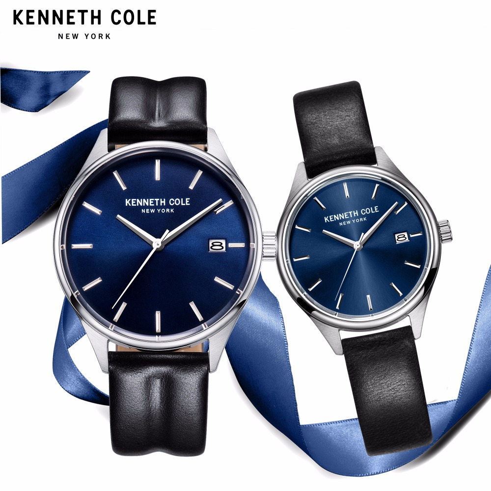 Kenneth Cole Couple Watches For Men Women Quartz Black Leather Buckle Waterproof Calendar Lovers Genuine Watch KC10030839/36 zippo
