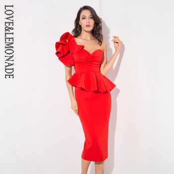 Love&Lemonade Red One-Shoulder Ruffle Trim Two-Pieces Slim Set LM1192 - DISCOUNT ITEM  15% OFF All Category