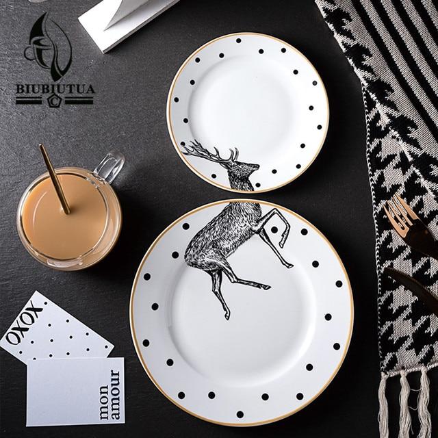 BIUBIUTUA 2 Pcs 6u00268 Inch Animal Combined Plates Set Ceramic Plates Fox Elk Giraffe Zebra Pattern & BIUBIUTUA 2 Pcs 6u00268 Inch Animal Combined Plates Set Ceramic Plates ...