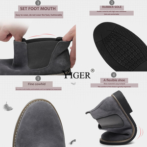 Image 2 - YIGER NEW Men Chelsea Boots Ankle Boots Fashion Mens Male Brand Leather Quality Slip Ons Motorcycle Man Warm Free shipping 0013