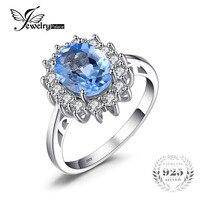 JewelryPalace Chúa Diana William Kate 2.3ct Màu Xanh Topazs Engagement Halo Vòng Đối Với Phụ Nữ S925 Sterling Bạc Trang Sức