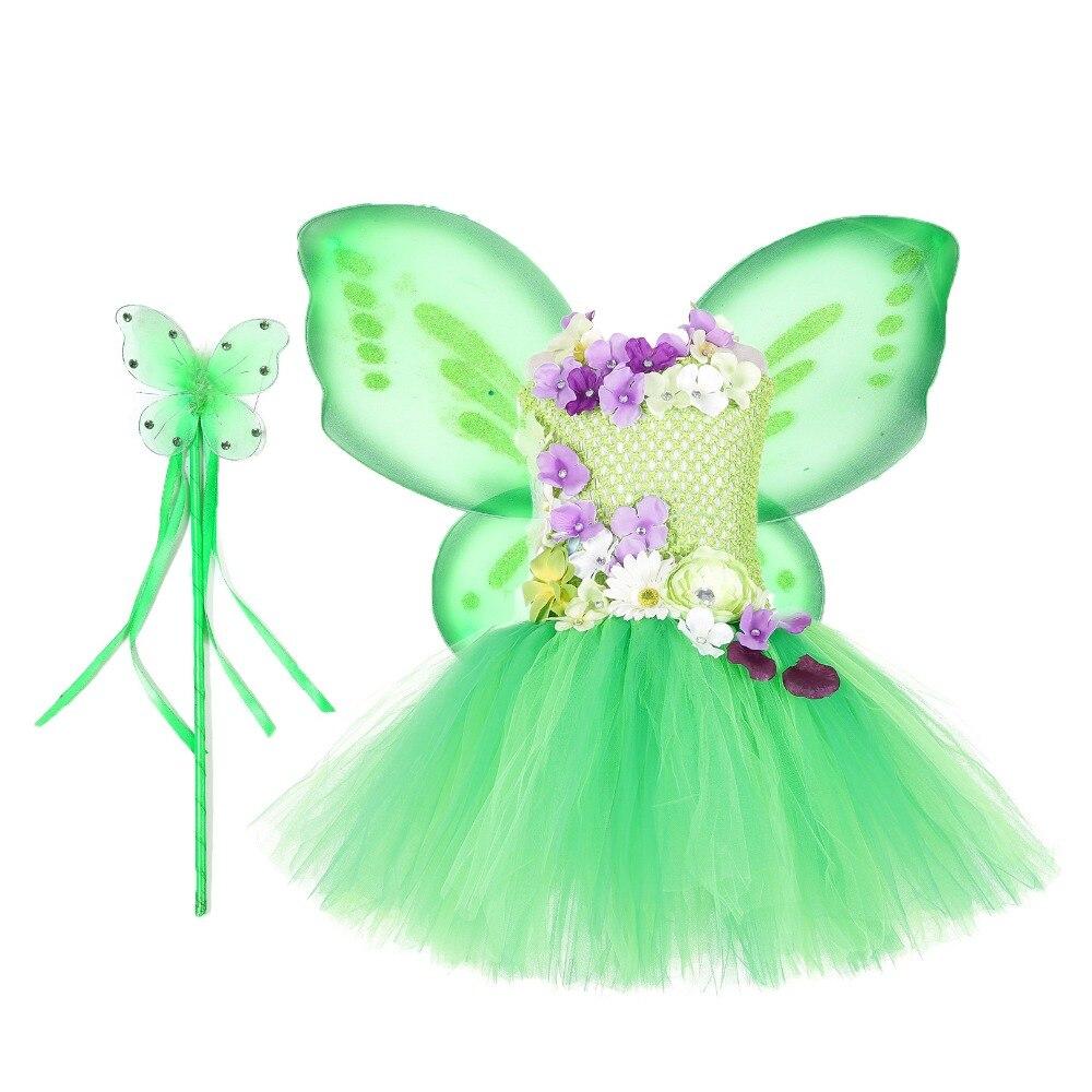 098a083c8 Nuevas niñas Tinker Bell tutú vestido niña flor hadas disfraces niños  blanco princesa vestidos ...
