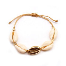 New Hand Woven Natural Shell Rope Chain Bracelets Bohemian Beach Charm Bracelet Accessories for Women