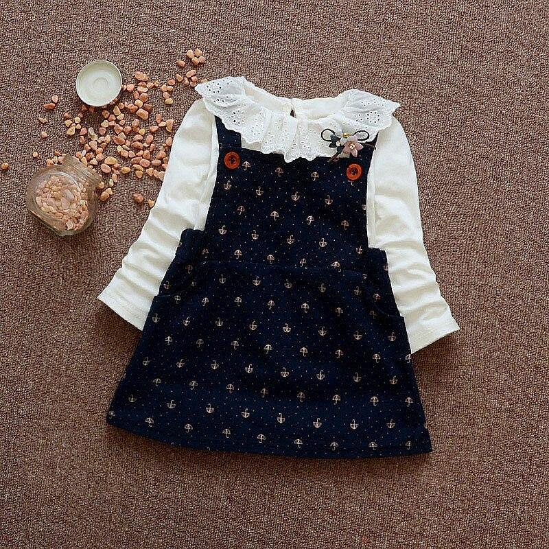 Spring Autumn Long Sleeved Lace Collar Flower Baby Girls Kids Children Tops T shirt Infants Overalls