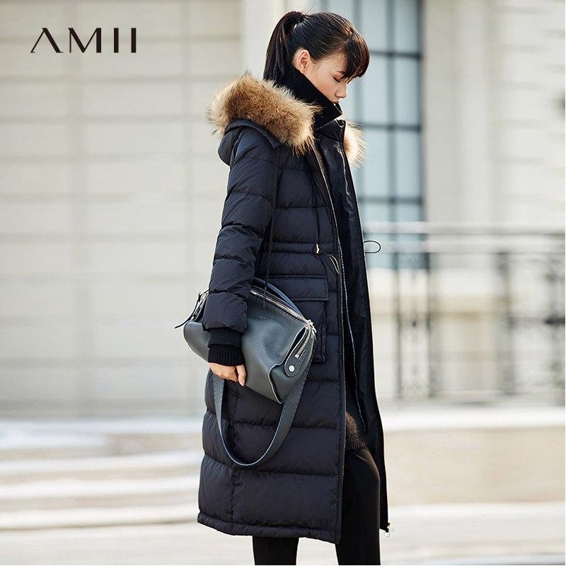 Amii Minimalist Women 2018 Winter 90% White Duck Down Coat Hoodies Adjustable Waist Thick Female Fashion Light Jacket Coats