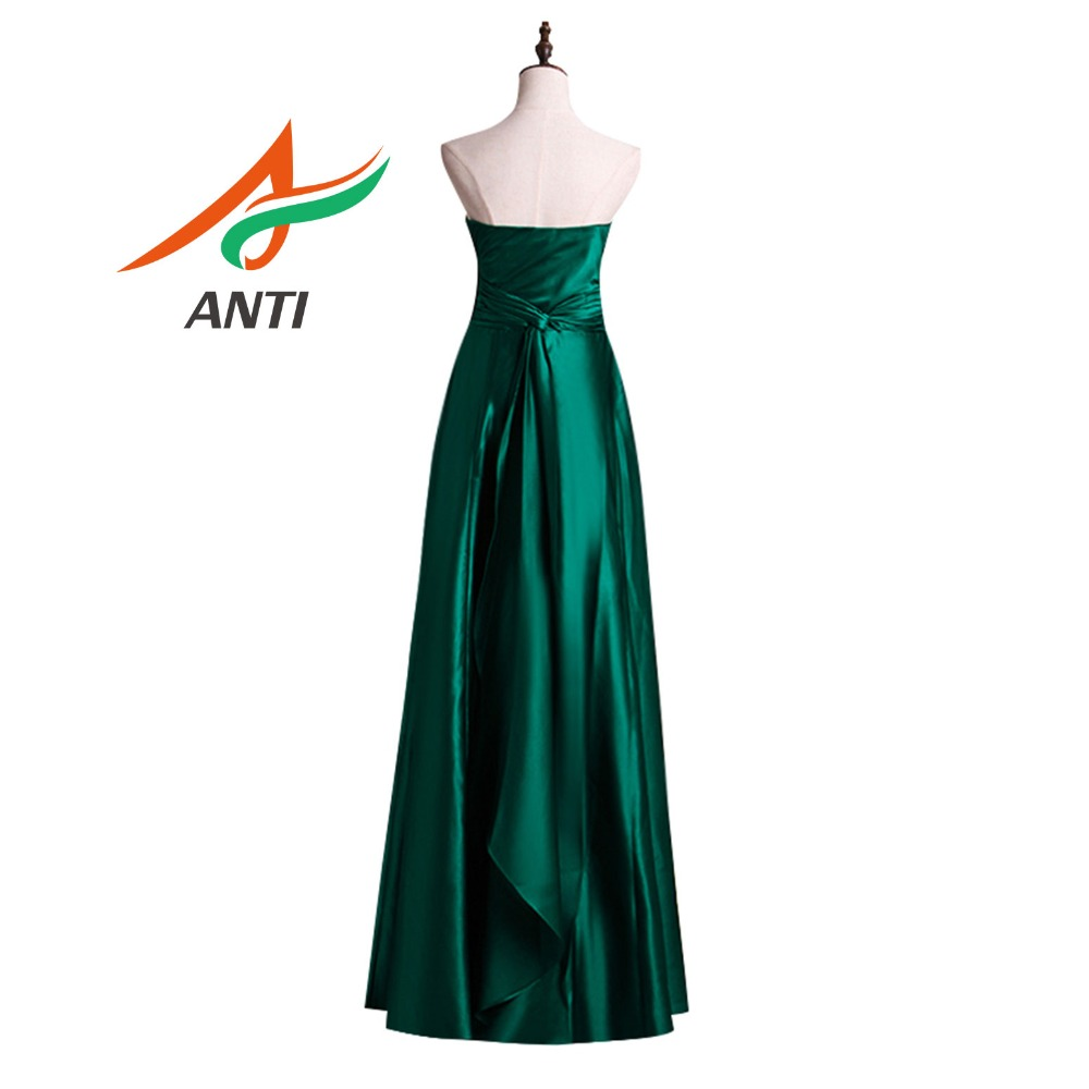ANTI 2019 Dark Green Evening Dress Robe De Soiree Sleeveless Strapless Vestido De Festa Longo Simple A-Line Wedding Gowns Abide