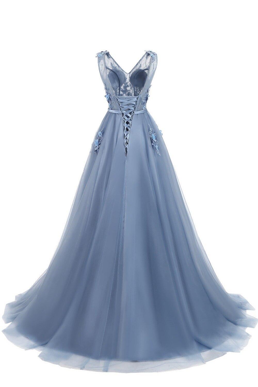 Elie Saab bleu robes De soirée 2019 grande taille Tulle Appliques longues robes formelles robes col en V à lacets sans manches Robe De soirée - 2