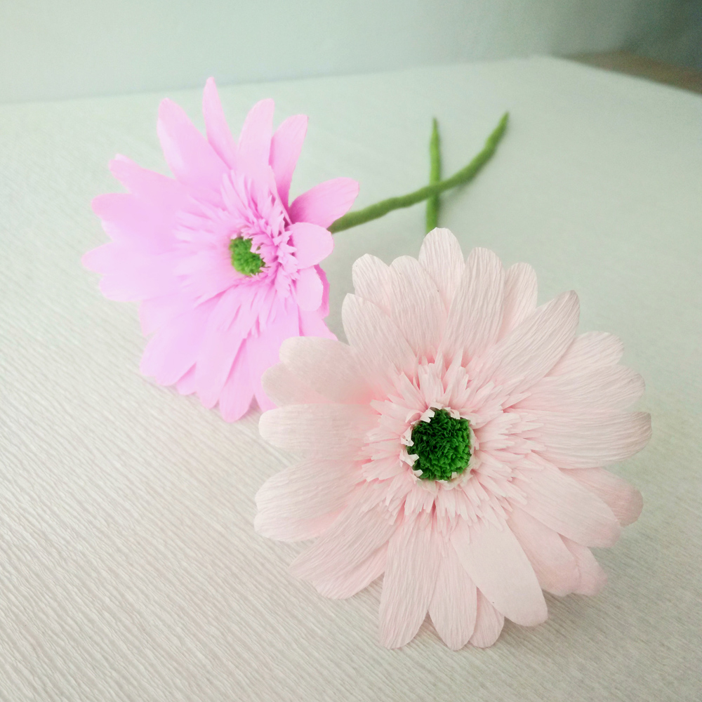 Diy Crepe Paper Craft Gerbera Flowers 15 Material Package Decoration