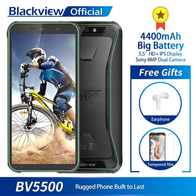 "Blackview BV5500 IP68 Waterproof Mobile Phone MTK6580P 2GB+16GB 5.5"" 18:9 Screen 4400mAh Android 8.1 Dual SIM Rugged Smartphone"