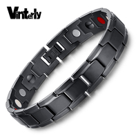Brand Design Fashion Health Energy Bracelet Bangle Men Stainless Steel Bio Magnetic Bracelet Black Gun Plated