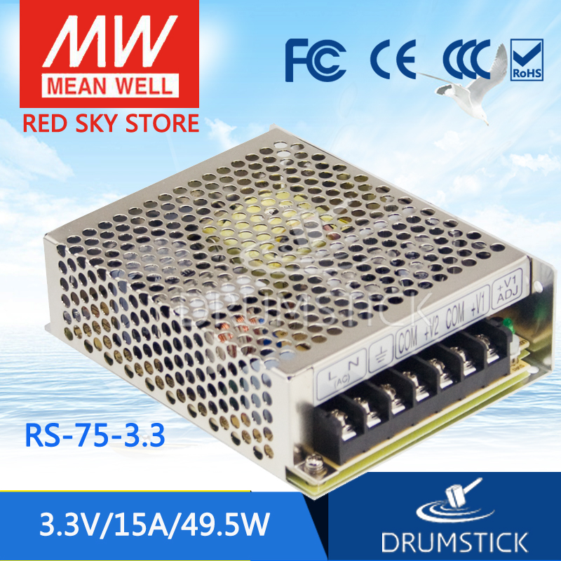 Selling Hot MEAN WELL RS-75-3.3 3.3V 15A meanwell RS-75 3.3V 49.5W Single Output Switching Power Supply [freeshipping 1pcs] mean well original rs 25 15 15v 1 7a meanwell rs 25 25 5w single output switching power supply