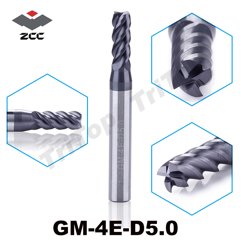 5pcs/lot GM-4E-D5.0 Cnc Mills Milling Cutter TiAIN Coated Solid Carbide 4 Flute 5mm End Mill Zcc Ct