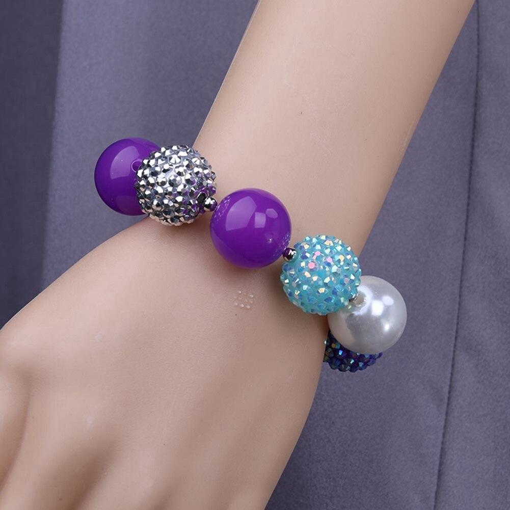 2018 New Arrival Beads Girls Chunky Bracelets Rainbow Colorful Strand Kids Bracelets Bangles Jewelry Festival Gift For Child