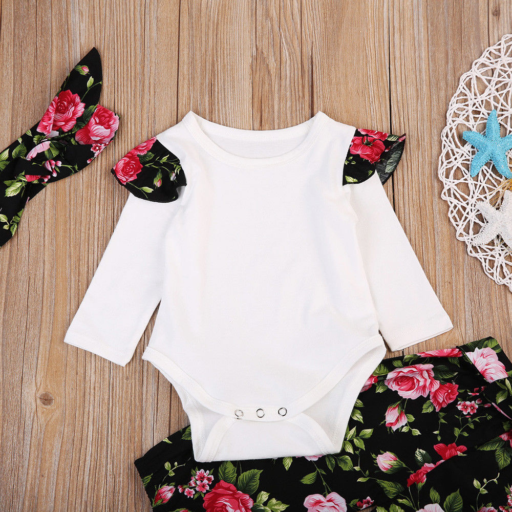 98542083f UK Stock Newborn Baby Girls Tops Romper Floral Pants baby girl baby ...