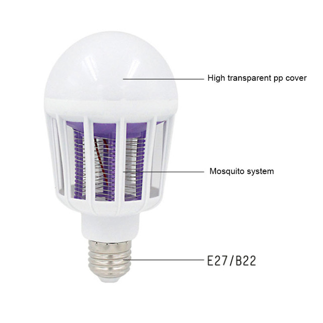 2 in 1 15W LED Bulb Mosquito Killer Lamp 220-240V Electric Trap Mosquito Killer Light for outdoor camping Night sleepping lamps 3