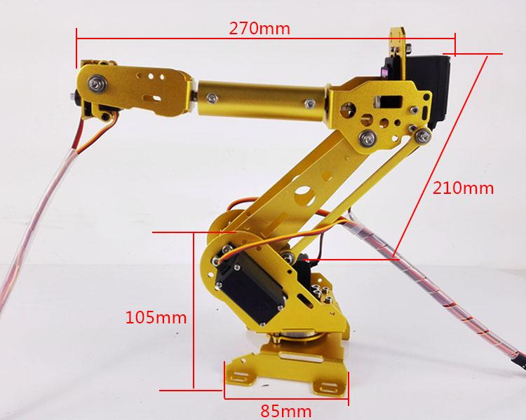 6 DOF Metal Mechanical Arm Kit Aluminum Alloy Manipulator Clamp Claw Machinery Structure Full Set DIY Robot Arm