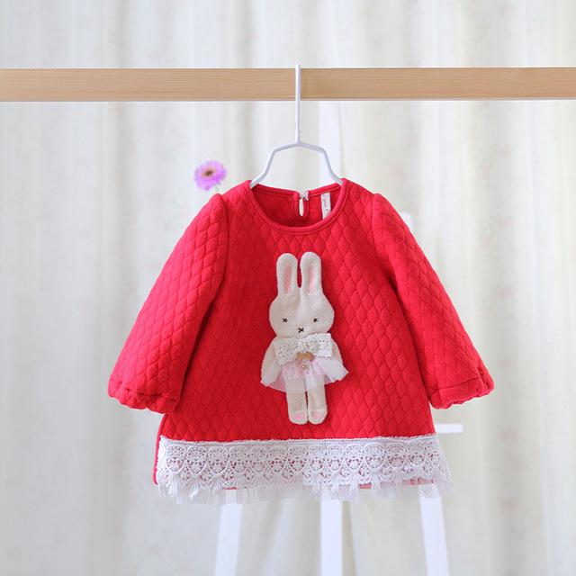 2016 del otoño del resorte nuevo bebé niña linda ropa de vestir vestido de capa del bebé niños de dibujos animados de conejo vestido de encaje para las niñas bebé