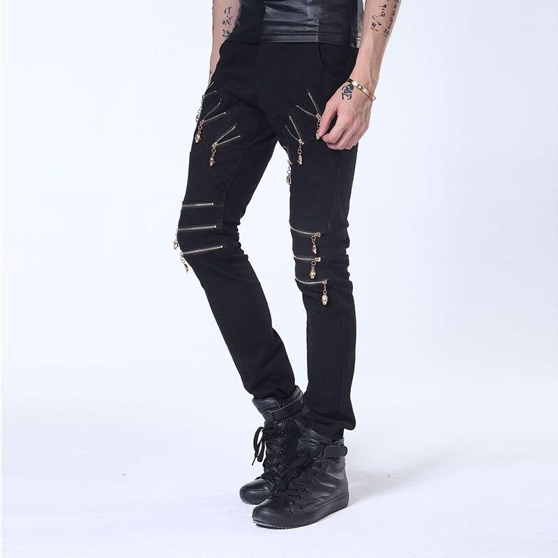 Skull Zipper Skinny Jeans Men Streetwear Stage Dance Punk Mens Stretch Denim Jeans Pants Fashion Black Hipster Hip Hop Brand