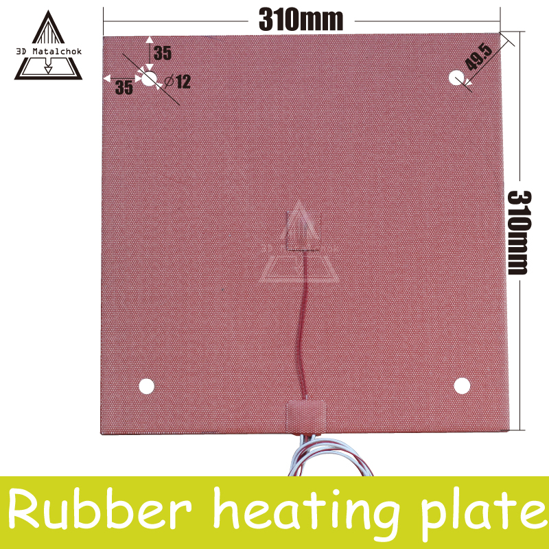 3D Matalchok Silicone Heater Pad EUA 310x310mm, 750W @ 220 v/120 v para Creality CR-10 3D Peças Da Impressora de cama Aquecida