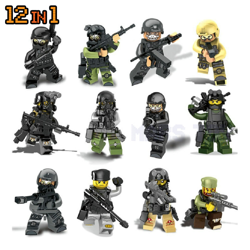Military Team Terrorist Attack Action Figures WW2 Guns Weapon Special Force Blocks Toy LegoINGlys Army Builder Series Toys