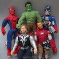 Мстители Капитан Америка Человек-Паук Железный человек Халк Тор 5 Шт./лот Плюшевые Игрушки Мягкие Мягкие Куклы 42-45 СМ