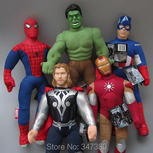 Avengers Captain America Spiderman Iron man Hulk Thor 5 Pcs/Lot Plush Toys Stuffed Soft Dolls 42-45 CM
