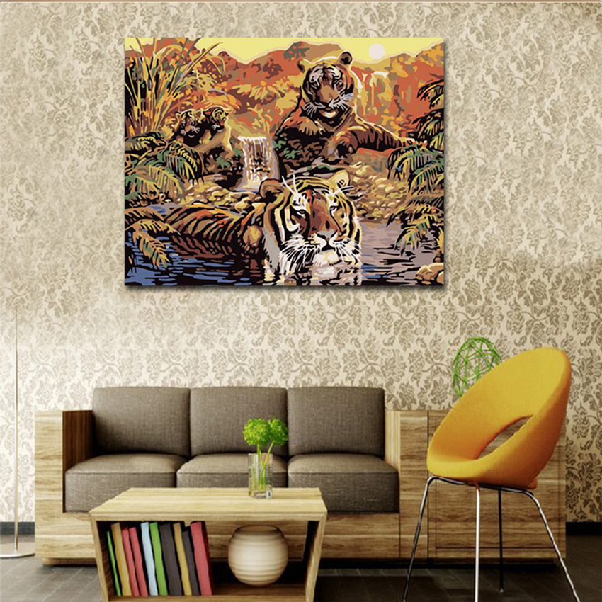 RIHE Fierce Tiger Diy Painting By Numbers Sundowners Oil Painting Cuadros Decoracion Acrylic Paint On Canvas Modern Wall Art in Painting Calligraphy from Home Garden