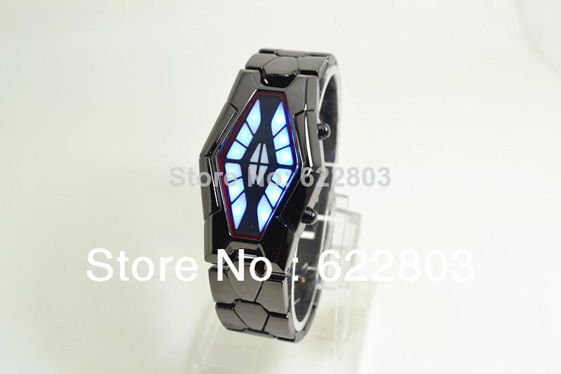 2016 new Binary Waterproof watches men women snake shape LED design unique new Unisex steel table Surprise gift watch new snake table wholesale fashion jewelry for men and women present binary watch for waterproof led lovers steel band watch