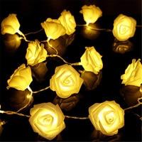 Guirnalda de luces LED con batería de rosas para decoración navideña, luces de 1M/2M/5M/10M para vacaciones, San Valentín y boda