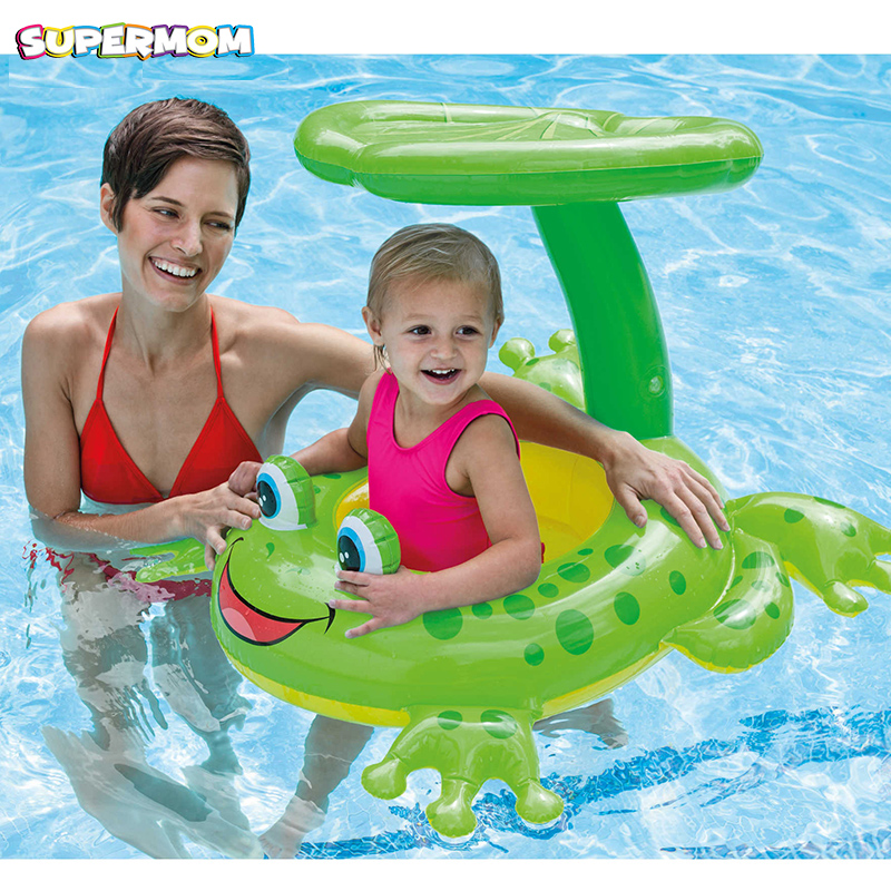 Frog Swim Ring Skate Sunshade Floating Inflatable Swimming Boat Toys Summer Kids Child Swimming Pool Accessories Piscine