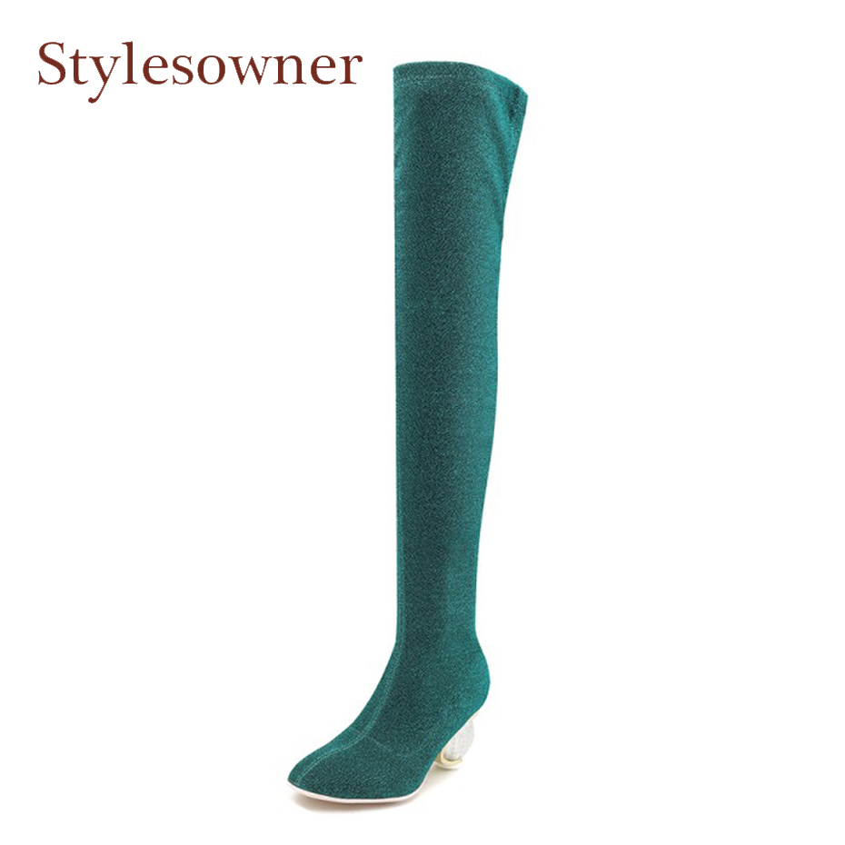Stylesowner transparent crystal strange heel sock boots women sequined stretch thin leg sexy ladies over the knee boots big size