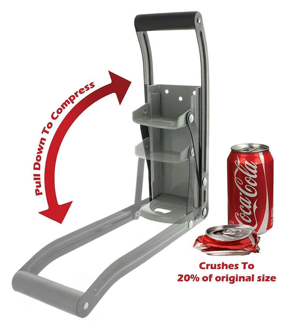 12 oz Aluminum Can Crusher & Bottle Opener Heavy Duty Metal Wall Mounted Soda Beer Smasher